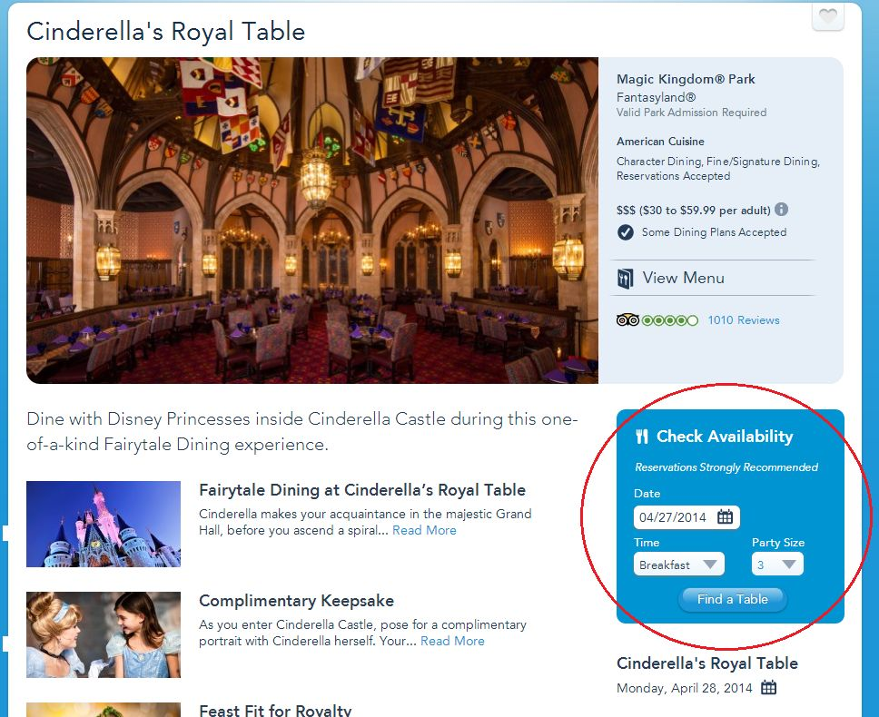 Cinderella Royal Table - Disponibilidade
