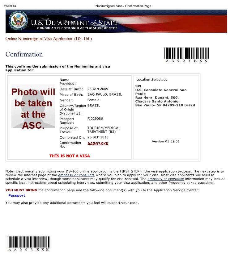 DS-160 - Confirmação